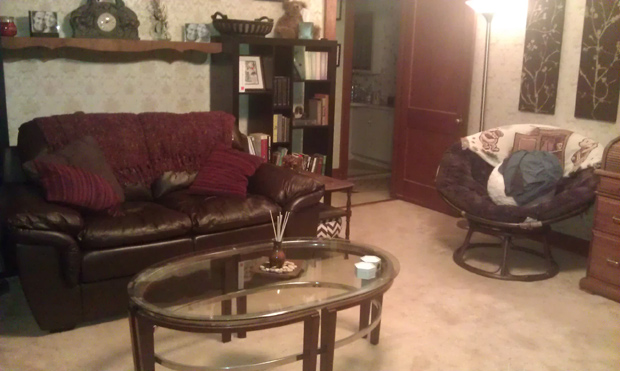 A view of our living room with the new loveseat.