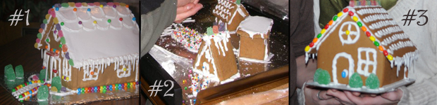 Our first 3 gingerbread houses