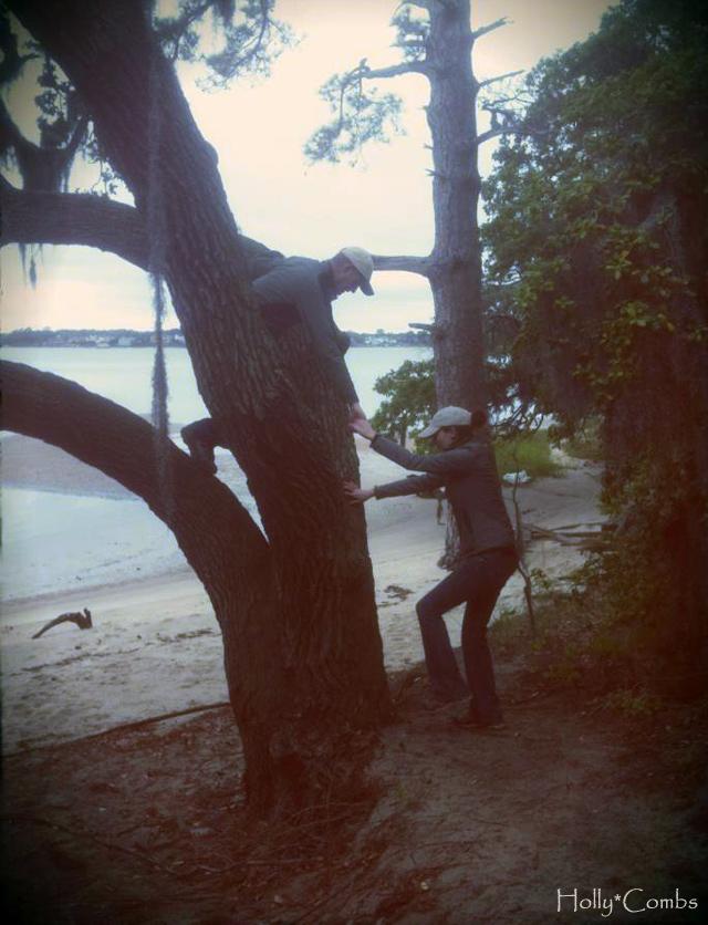 Husband helping me climb the tree.