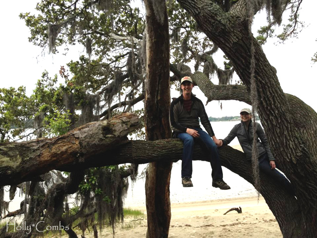 Climbing trees with Husband at First Landing.