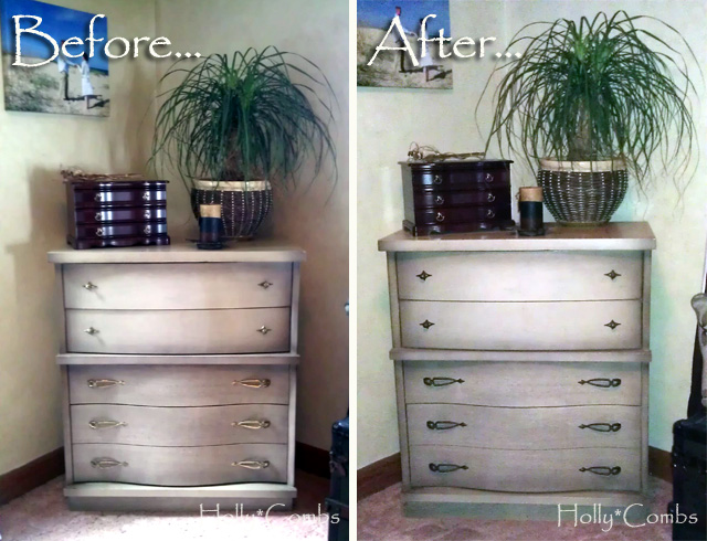 Tall dresser before and after