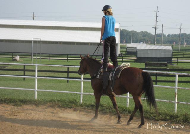 Hippodrome trick riding.