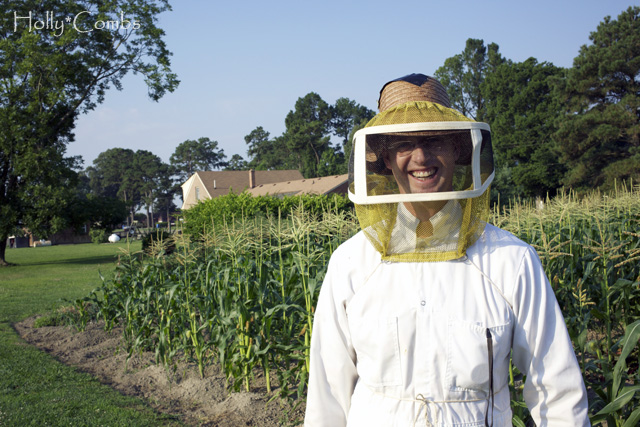 Husband in his bee suit.