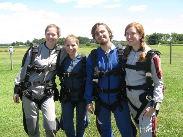 Going skydiving with friends.