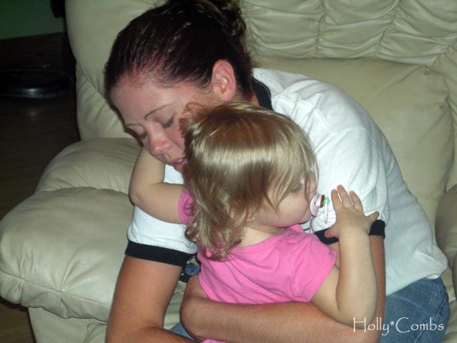 Holding my niece.