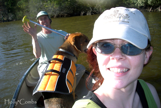 Taking the puppy canoeing.