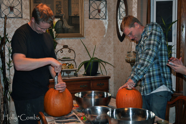 Cutting into our pumpkins.