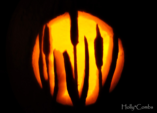 Our lovely carved pumpkin.