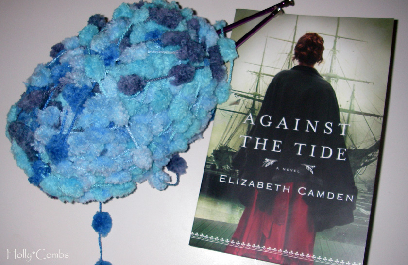 Yarn along, reading Against the Tide