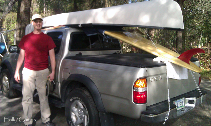 All loaded up with the canoe and surf boards.