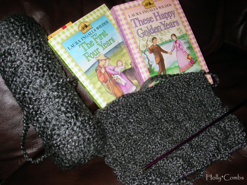 Yarn Along reading Laura Ingalls Wilder