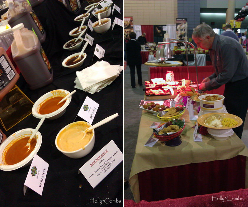 Food tables at the food show.