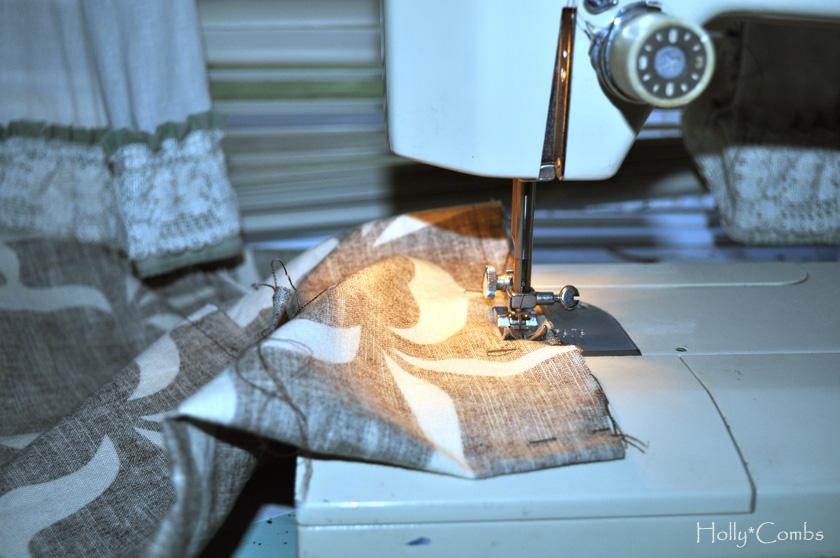 Sewing final seams.