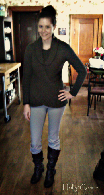 Brown and gray outfit.