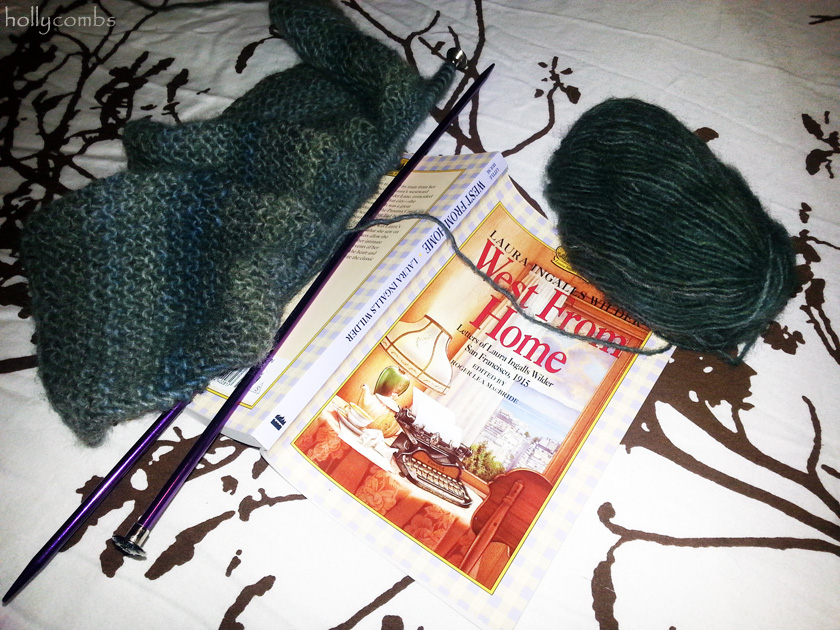 Knitting a shell and reading West From Home