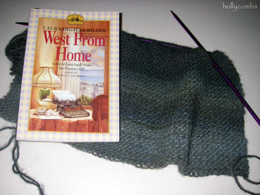 Knitting and reading West From Home