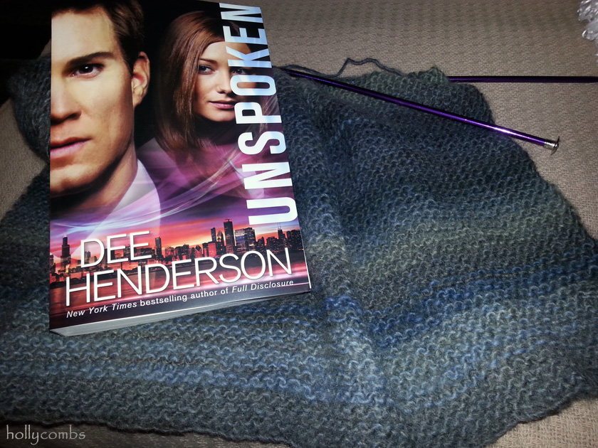 Knitting a shell and reading Unspoken by Dee Henderson