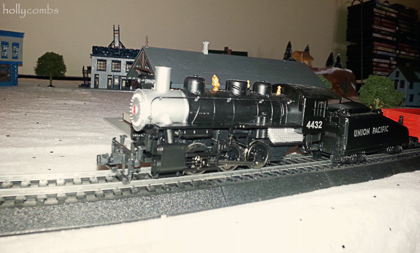 Model trains at Christmastime